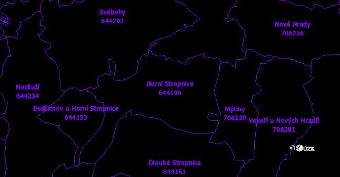 Katastrální mapa Horní Stropnice - přehledová mapa katastrálního území