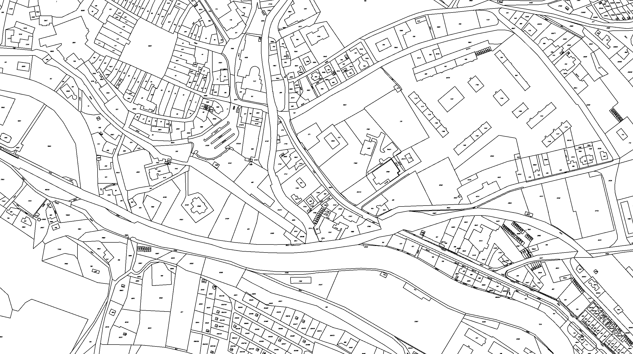 Katastrální mapa pozemků a čísla parcel Hostinné
