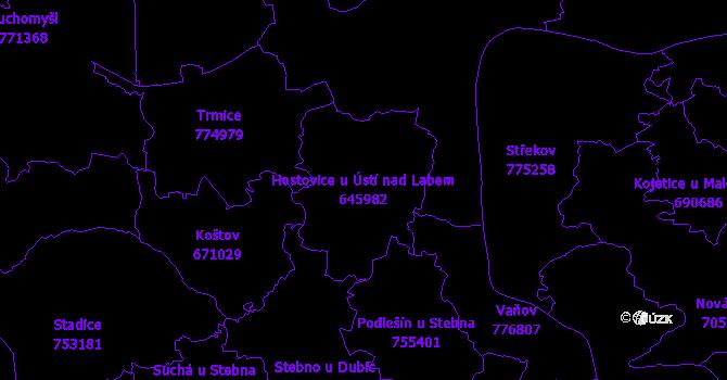 Katastrální mapa Hostovice u Ústí nad Labem - přehledová mapa katastrálního území