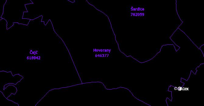 Katastrální mapa Hovorany - přehledová mapa katastrálního území