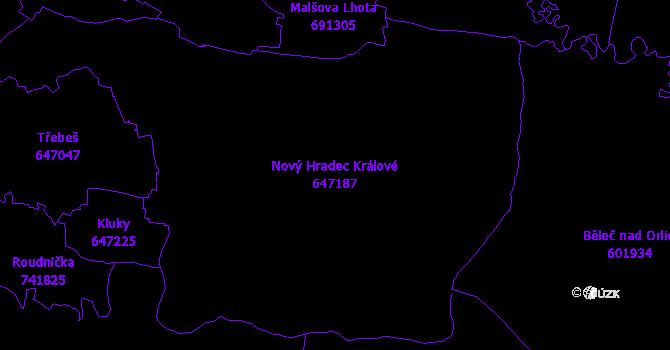 Katastrální mapa Nový Hradec Králové - přehledová mapa katastrálního území