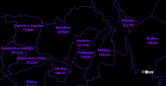 Katastrální mapa Hradisko - přehledová mapa katastrálního území
