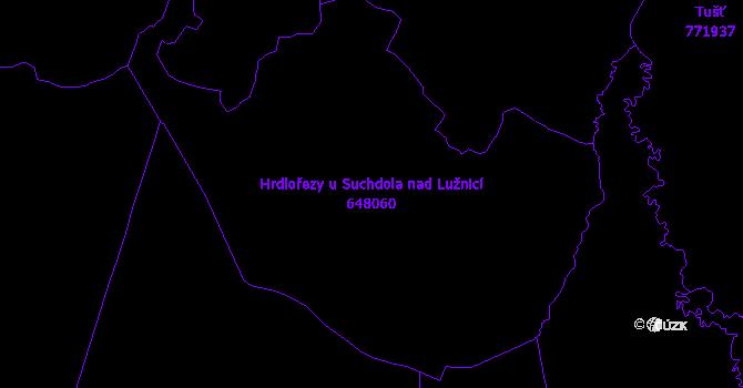 Katastrální mapa Hrdlořezy u Suchdola nad Lužnicí - přehledová mapa katastrálního území