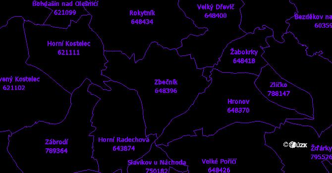 Katastrální mapa Zbečník - přehledová mapa katastrálního území