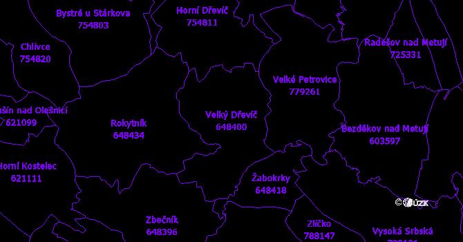 Katastrální mapa Velký Dřevíč - přehledová mapa katastrálního území