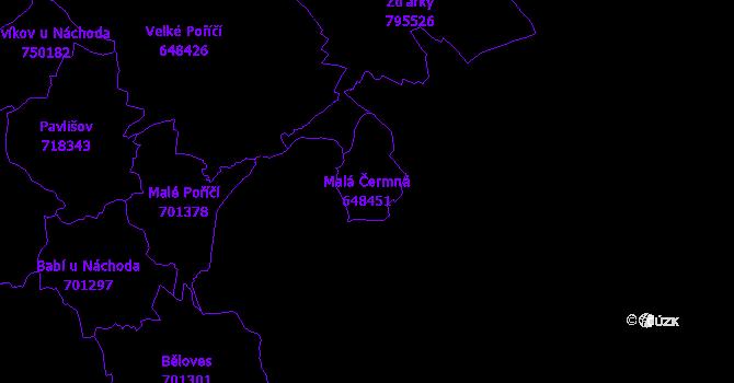 Katastrální mapa Malá Čermná - přehledová mapa katastrálního území