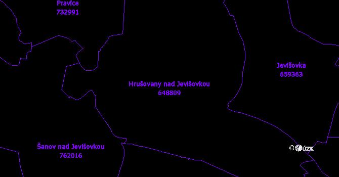Katastrální mapa Hrušovany nad Jevišovkou - přehledová mapa katastrálního území