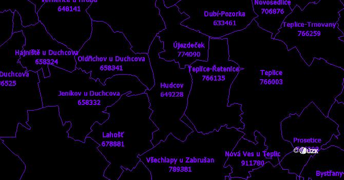 Katastrální mapa Hudcov - přehledová mapa katastrálního území