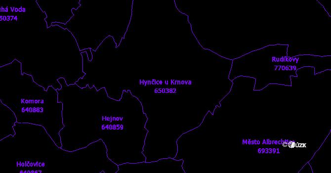 Katastrální mapa Hynčice u Krnova - přehledová mapa katastrálního území