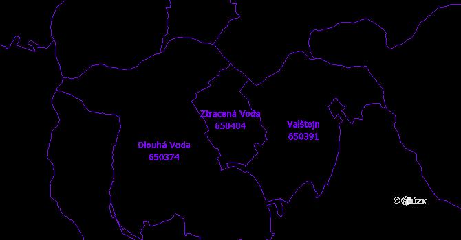 Katastrální mapa Ztracená Voda - přehledová mapa katastrálního území