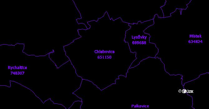 Katastrální mapa Chlebovice - přehledová mapa katastrálního území