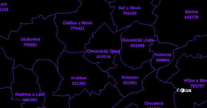 Katastrální mapa Chocenický Újezd - přehledová mapa katastrálního území