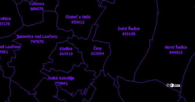Katastrální mapa Časy - přehledová mapa katastrálního území