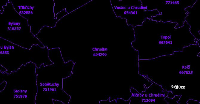 Katastrální mapa Chrudim - přehledová mapa katastrálního území
