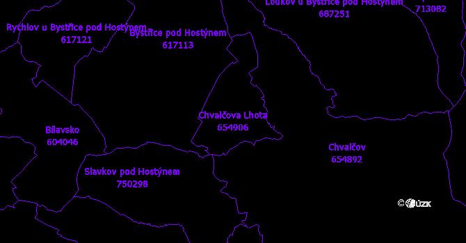 Katastrální mapa Chvalčova Lhota - přehledová mapa katastrálního území