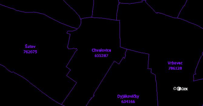Katastrální mapa Chvalovice - přehledová mapa katastrálního území