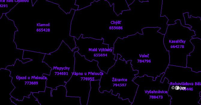 Katastrální mapa Malé Výkleky - přehledová mapa katastrálního území