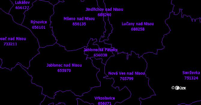 Katastrální mapa Jablonecké Paseky - přehledová mapa katastrálního území
