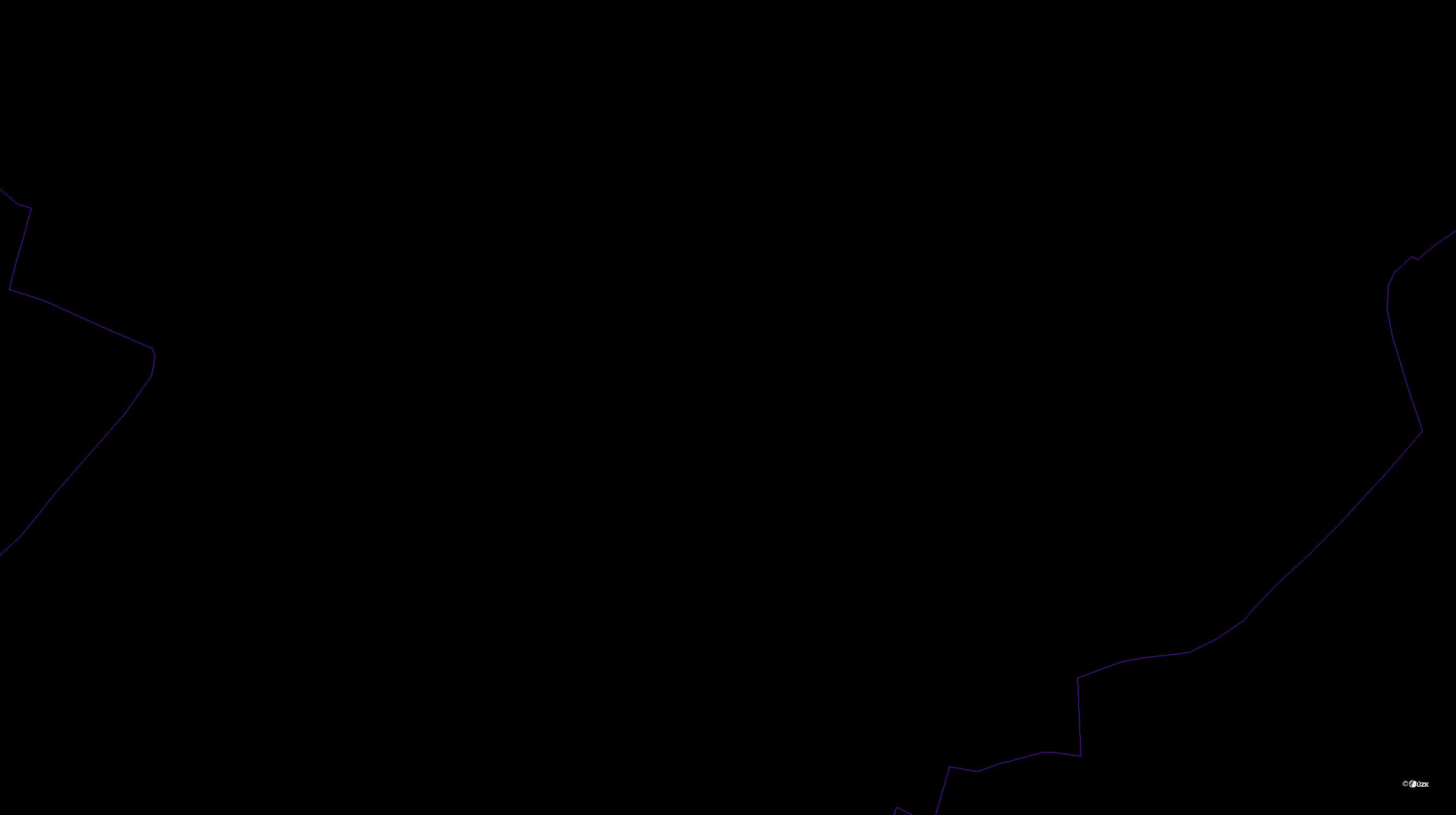 Katastrální mapa pozemků a čísla parcel Lukášov