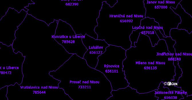 Katastrální mapa Lukášov - přehledová mapa katastrálního území