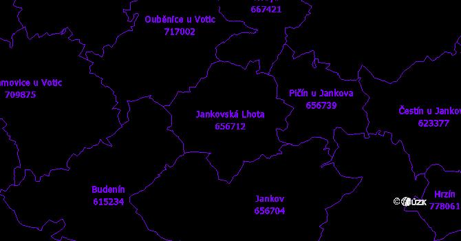 Katastrální mapa Jankovská Lhota - přehledová mapa katastrálního území