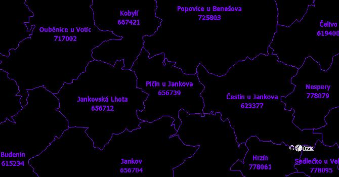 Katastrální mapa Pičín u Jankova - přehledová mapa katastrálního území