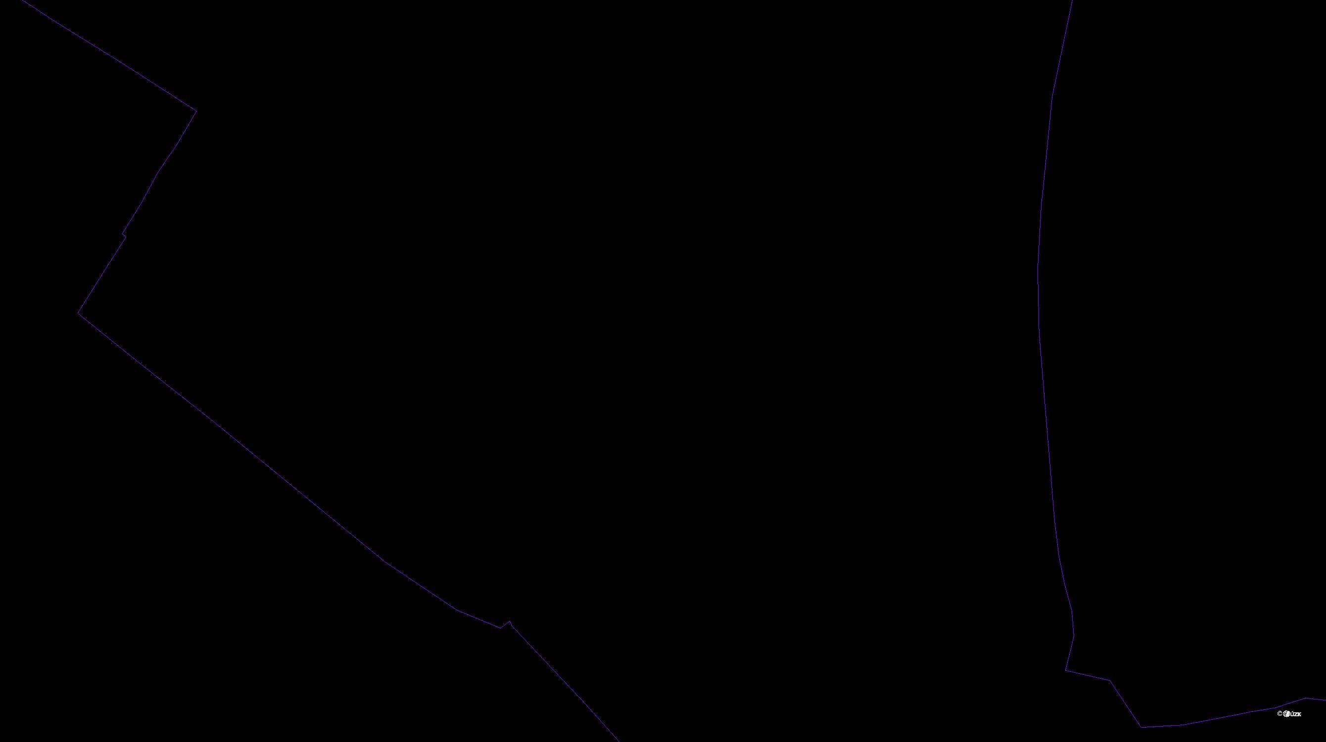 Katastrální mapa pozemků a čísla parcel Jezbiny