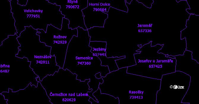 Katastrální mapa Jezbiny - přehledová mapa katastrálního území
