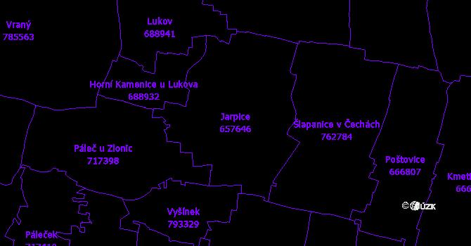 Katastrální mapa Jarpice - přehledová mapa katastrálního území