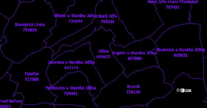 Katastrální mapa Jičina - přehledová mapa katastrálního území