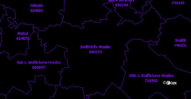 Katastrální mapa Jindřichův Hradec - přehledová mapa katastrálního území