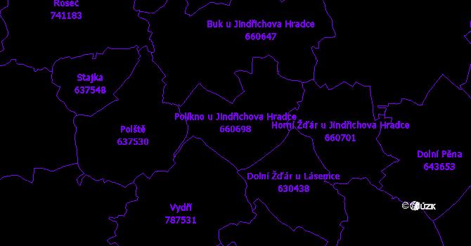 Katastrální mapa Políkno u Jindřichova Hradce - přehledová mapa katastrálního území