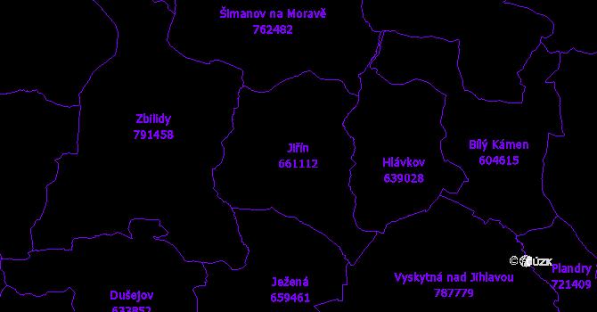 Katastrální mapa Jiřín - přehledová mapa katastrálního území
