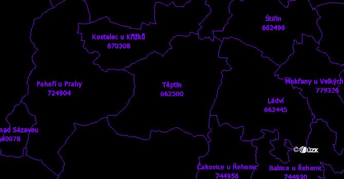 Katastrální mapa Těptín - přehledová mapa katastrálního území