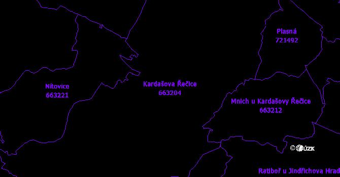 Katastrální mapa Kardašova Řečice - přehledová mapa katastrálního území