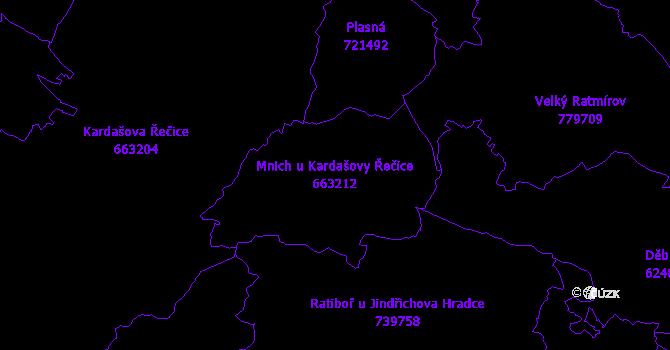 Katastrální mapa Mnich u Kardašovy Řečice - přehledová mapa katastrálního území