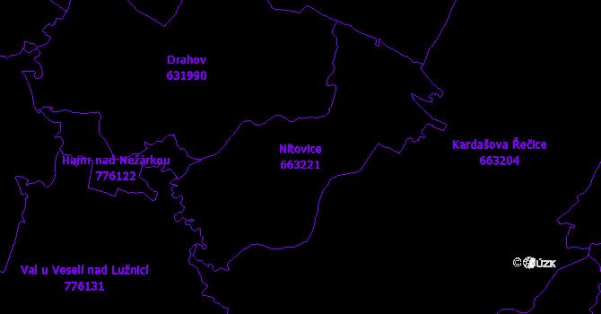 Katastrální mapa Nítovice - přehledová mapa katastrálního území