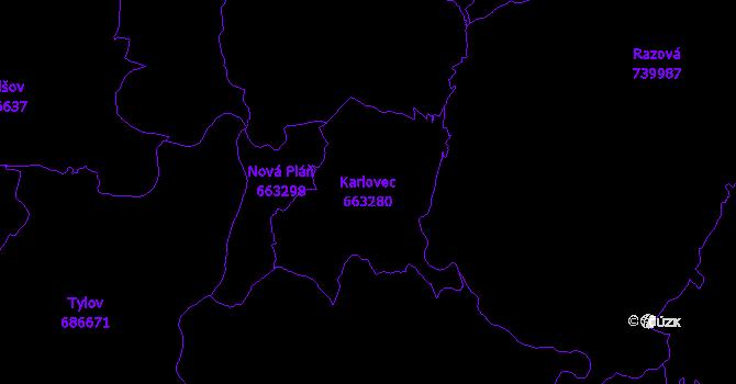 Katastrální mapa Karlovec - přehledová mapa katastrálního území
