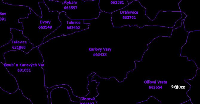 Katastrální mapa Karlovy Vary - přehledová mapa katastrálního území