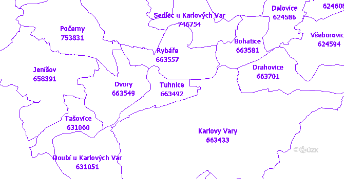 Katastrální mapa Tuhnice - přehledová mapa katastrálního území