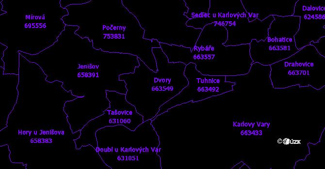 Katastrální mapa Dvory - přehledová mapa katastrálního území