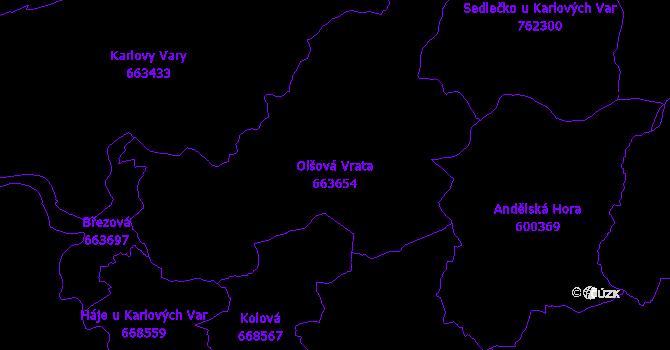 Katastrální mapa Olšová Vrata - přehledová mapa katastrálního území