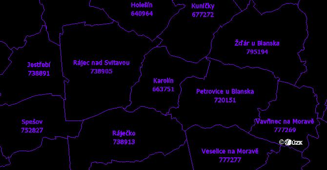 Katastrální mapa Karolín - přehledová mapa katastrálního území