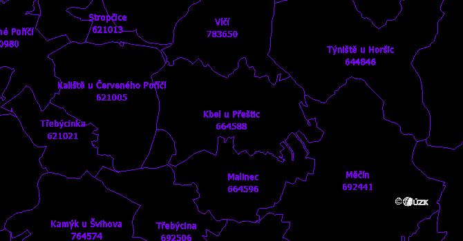 Katastrální mapa Kbel u Přeštic - přehledová mapa katastrálního území