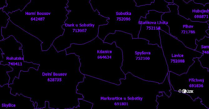 Katastrální mapa Kdanice - přehledová mapa katastrálního území