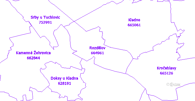 Katastrální mapa Rozdělov - přehledová mapa katastrálního území