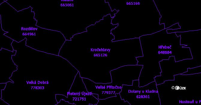 Katastrální mapa Kročehlavy - přehledová mapa katastrálního území