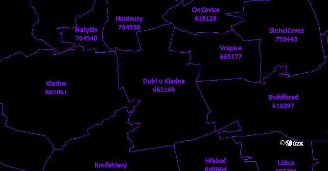 Katastrální mapa Dubí u Kladna - přehledová mapa katastrálního území