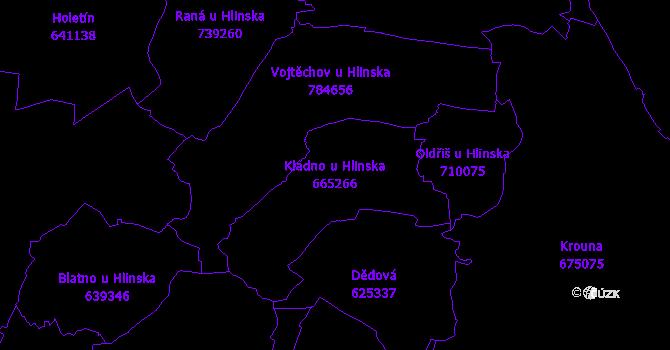 Katastrální mapa Kladno u Hlinska - přehledová mapa katastrálního území