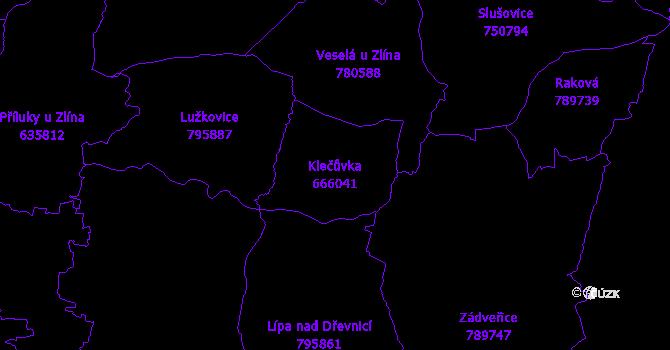 Katastrální mapa Klečůvka - přehledová mapa katastrálního území